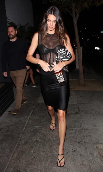 Абсолютно прозрачный топ + юбка-карандаш: дерзкий образ Кендалл Дженнер, на который не каждый решится